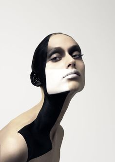 make up idea - would be cool to exaggerate it. the make up line could evolve & move. dripping white line on the neck Beauty Photography, Portrait Photography, Bokeh Portrait, Conceptual Photography, The Face, Face And Body, Beauty Makeup, Hair Makeup, Eyeliner Makeup