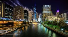 Trump Tower at Night - Pinned by Mak Khalaf After a recent architectural tour I ran over to to the Columbus Bridge to grab a shot of the Trump Tower. I love to shoot this building not only for it's architectural beauty but for it's placement on the Chicago river. I didn't have a tripod with so I had to place my camera on a cement pillar grab this shot. Loved the clouds rising behind the building. City and Architecture ChicagoTrump Towerarchitecturebuildingscitycloudslightslong…
