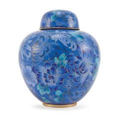 Elegant, rounded floral cloisonne cremation urn for ashes with rich blues.