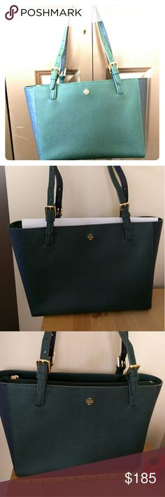 Tory Burch York Small buckle Tote handbag EUC only used a few times. Saffiano leather,adjustable straps, jitney green and Tory navy. Dimensions 12x9x5. No Trades. Tory Burch Bags Totes