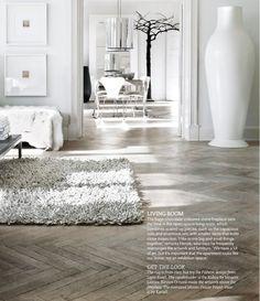 Pale Parquet Flooring works this White Colour Scheme beautifully. Source: Living Etc Magazine Issue June 2013