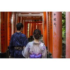 The cool thing about Kyoto is that you'll always see people dressed in traditional clothes. It doesn't have to be a festival or special event. They just do it. This couple looked especially cool walking through Fushimi Inari. Walking carefully down the steps, the man escorted his lady as they both descended in their wooden sandals, as not to slip on the old damp granite.
