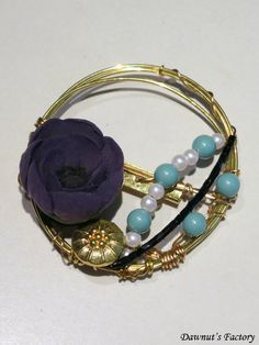 Purple anemone brooch with vintage gold button, pearl white and blue beads