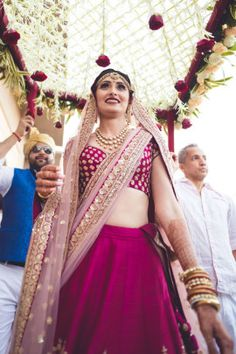 Picture from Sareena & Manav Photo Gallery on WedMeGood. Browse more such photos & get inspiration for your wedding Wedding Day Dresses, Indian Wedding Outfits, Bridal Outfits, Saree Wedding, Bridal Dresses, Indian Weddings, Pink Bridal Lehenga, Pink Lehenga, Indian Bridal Lehenga
