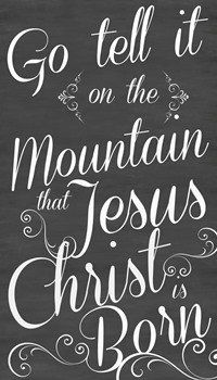 "Large 24x36 Go tell it on the Mountain Christmas Chalkboard Style Sign ""$48.99"""
