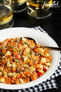 Farro and Spiced Honey Salad with Sweet Potatoes, Apples, and Chestnuts