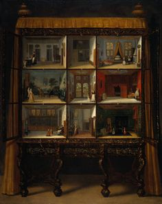 Painting of the doll's house around 1710.  The cupboard originally had curtains. The painting shows that the interior of the house has remained much the same. The main difference being that the house in the painting is inhabited by more than twenty dolls, made to scale. Only one baby doll has survived. Two of the rooms were altered slightly during the eighteenth century: there used to be a garden beyond the entrance hall, and the tapestry room was once shrouded in mourning.