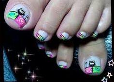 Resultado de imagen para decoracion de uñas de los pies con muñecos Heart Nail Designs, Cute Nail Art Designs, Toe Nail Designs, Pedicure Designs, Nail Polish Art, Toe Nail Art, Cute Toe Nails, Pretty Nails, Painted Toe Nails