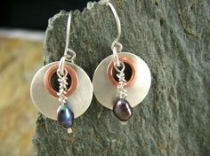 Understated Earrings - Sterling Silver, Copper, and Freshwater Pearl from Dreaming Tree Creation, www.Etsy.com