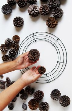 Easy & long lasting DIY pinecone wreath: beautiful as Thanksgiving & Christmas decorations & centerpieces. Great pine cone crafts for fall & winter! - A Piece of Rainbow Pine Cone Art, Pine Cone Crafts, Pine Cones, Pine Cone Wreath, Pine Cone Decorations, Fall Wedding Decorations, Christmas Decorations, Noel Christmas, Christmas Crafts