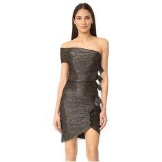 Bec & Bridge Glitter Rain Mini Dress (£200) ❤ liked on Polyvore featuring dresses, metallic cocktail dress, mesh dress, ruffled dresses, metallic dress and mini dress