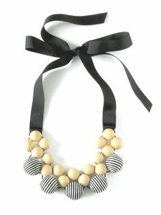 Black,&,White,Stripy,Wood,Fabric,Necklace,by,Gabby,Gassner,Black & White Stripy Wood & Fabric Necklace by Gabby Gassner Pearl Necklace, Beaded Necklace, Fabric Necklace, Textile Jewelry, Contemporary Jewellery, Jewelry Accessories, Women Wear, Pearls, Black White