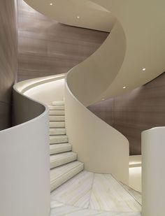 Amazing staircase at Giorgio Armani's redesigned Milan Flagship   KNSTRCT