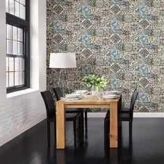 Marrakesh Tiles Blue Mosaic Wallpaper Brewster Wallcoverings Blues Tile Wallpaper, Easy to clean , Easy to wash, Easy to strip Mosaic Wallpaper, Geometric Wallpaper, Of Wallpaper, Bohemian Wallpaper, Classic Wallpaper, Blue Mosaic, Blue Tiles, Mosaic Tiles, Mid Century Modern Wallpaper