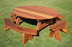 Oval Wood Picnic Tables - Wood Picnic Tables | Forever Redwood