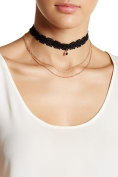 Lace & Draped Chain Choker by Stephan & Co on @nordstrom_rack