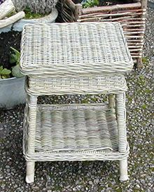 Grey Rattan Bedside Table/Lamp Table