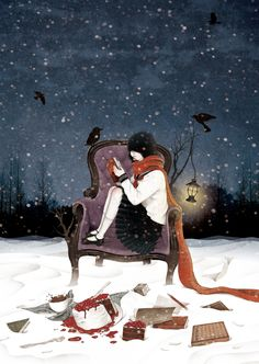 Reading in the snow...lovely.  But too cold for me (I'd rather be behind a window with a good fire by my side)