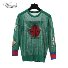 fashion 2017 new spring summer butterfly ladybug star Gold and silver hollow out knitting cute green Sweaters women WS-132