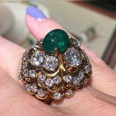 David Webb cocktail ring kind of day #vintagedavidwebb @betteridge1897 #emerald #diamond