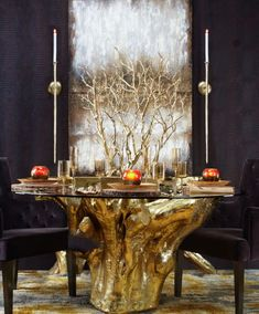**THE TABLE** Eye-catching, slim candle sconces to outline beautiful artwork in dining room -- much like this painting which i also love from Z Gallerie. Table Cafe, Affordable Modern Furniture, Dining Room Inspiration, Rustic Table, Home Decor Store, Dining Room Design, Wall Sconces, Candle Sconces, Room Decor