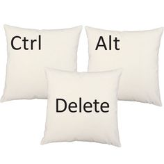 Set of 3 Ctrl Alt Del pillows - perfect for the computer lover in your life
