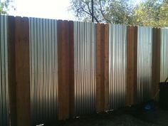 Corrugated Metal Fence Diy - Trendy Metal Cedar Fence Gardens – Home Ideas for your home. Privacy Fence Landscaping, Privacy Fence Designs, Privacy Fences, Diy Fence, Backyard Fences, Garden Fencing, Fence Ideas, Pallet Fence, Fence Gate