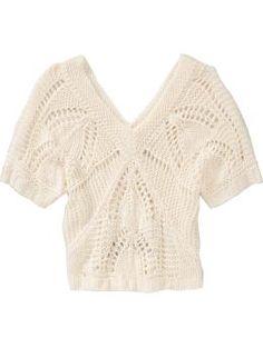 Old Navy Women's Cropped Double V-Neck Crochet Sweaters in Dumpling $18.99