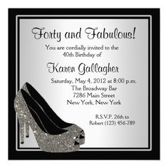 Black Silver High Heels Womans Brithday Customized Custom Invitations 40th Birthday Invitation Wording Sweet 16
