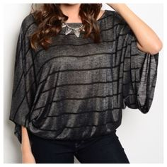 """New - Charcoal Top Top with elastic waist line. Wide Sleeves. Sizes S, M & L. Full length 23.5"""". If you have any questions please ask Tops"""
