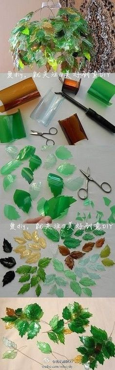 Plastic bottles leaves