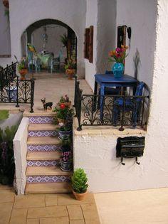 Mediterranean Villa Doll House~Image via Nature's Soul Miniatures