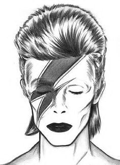 Aladdin Sane Bowie Drawing by stardust *beloved*genious*David Robert Jones as Bowie* - celebrating his today. David Bowie Tattoo, David Bowie Art, David Bowie Ziggy, Aladdin Sane, Art Visage, David Bowie Tribute, Ziggy Stardust, Cute Drawings, Tattoo Drawings