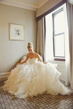 Wedding Ruffle Ball Gown Dress and Top Knot Hair - Elegant and Feminine Wedding