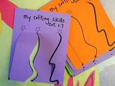 cutting practice for PreK and K.  I like that it stops near the top and you can keep the whole page together to save and compare as skills progress