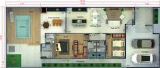 Planta de casa térrea com 1 quarto e 1 suíte. Planta para terreno 10x25 Garage Design, House Design, House Construction Plan, Deck Box, Family House Plans, Farmhouse Plans, My Dream Home, Home Deco, Luxury Homes