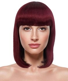 - Breathable Capless Cap- 100% Cruelty Free - Premium Handcrafted Wig - Designed for comfort fit Auburn Bob, Thick Bangs, Halloween Wigs, Cosplay Wigs, Shoulder Length, Cruelty Free, Burgundy, Cap, Collection