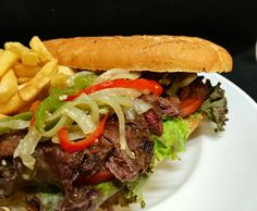 STEAK SANDWHICH Side of fries, French Baguette, bourbon steak sauce French Baguette, Bourbon, Hamburger, Fries, Steak, Beef, Ethnic Recipes, Food, Bourbon Whiskey