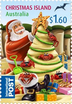 ◙ Australia, Santa at the Beach Postage Stamp. Aussie Christmas, Australian Christmas, Christmas Time, Xmas, Christmas Images, Vintage Christmas, Christmas Cards, Christmas Island, Christmas Nail Designs