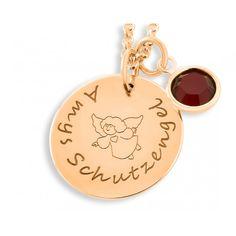 Namenskette aus 925 Sterling Silber hochwertig rosé vergoldet. Daneben hängt ein Swarovski Geburtsstein in der Farbe des Geburtsmonates bzw. in Ihrer Wunschfarbe