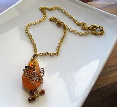 Butterfly Charm Necklace / Iridescent Crystals / by SilverandIce, $20.00