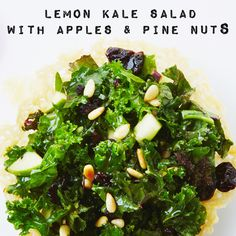 A delicious and easy Kale Salad served in a parmesan cup. #BiteMeMore #kale #recipe