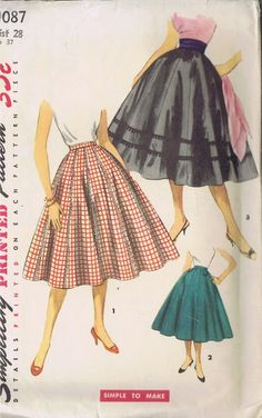 Simplicity 1087 Vintage Sewing Pattern FANTASTIC Classic Rockabilly Slim or Wide Waistband Fored Flared Circle Skirt, Trims Galore! Vintage Dress Patterns, Vintage Skirt, Clothing Patterns, Vintage Dresses, Vintage Outfits, Vintage Fashion, 1950s Fashion, Vintage Clothing, Women's Clothing