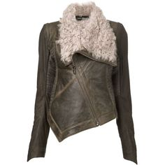 Isabel Benenato draped shearling jacket ($2,575) ❤ liked on Polyvore featuring outerwear, jackets, brown, brown shearling jacket, isabel benenato, long sleeve jacket, draped jacket and shearling jacket
