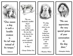 Printable Bookmarks Dogs in Pencil With Quotes About Dog by joyart, $3.00