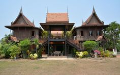 Traditional Thai house. The house is standing on the pilars. The second floor is living floor and down stairs is open space, which is used as an covered terrace.