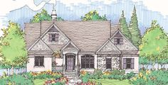 The Loxdale, Plan 788-D Multiple gables, cedar shakes, stucco and stone provide plenty of enchantment for the exterior of thi