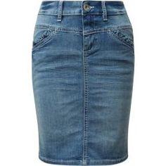 Tom Tailor Damen Jeansrock mit Rüschen, blau, unifarben, Gr.36 Tom TailorTom Tailor