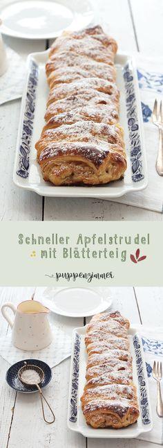 Schneller Apfelstrudel aus Blätterteig | Bayerisch vegetarisch