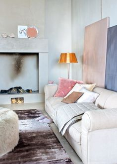 pink, blush, peach, charcoal, rug, ottoman, pillows, fireplace, modern, neutral, velvet, velour, quilted from: eclecticlivinghome